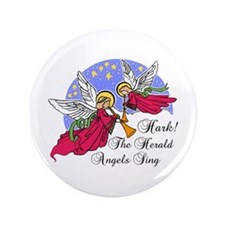 """Hark The Herald Angels Sing 3.5"""" Button"""