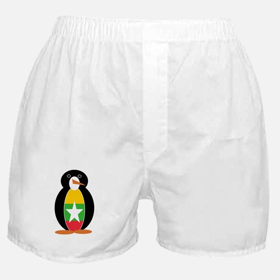 Penguin Flag Burma or Myanmar Boxer Shorts