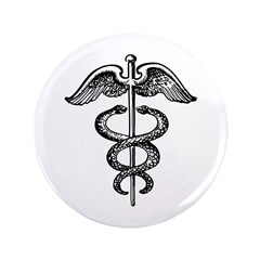 """Asclepius Staff - Medical Symbol 3.5"""" Button"""