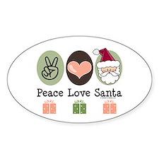 Peace Love Santa Christmas Oval Decal