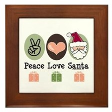 Peace Love Santa Christmas Framed Tile