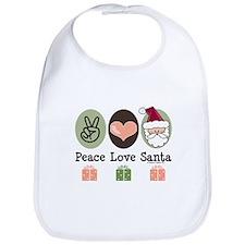 Peace Love Santa Christmas Bib