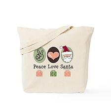 Peace Love Santa Christmas Tote Bag