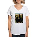 Mona / Std Poodle (bl) Women's V-Neck T-Shirt