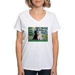 Bridge / Std Poodle (pr) Women's V-Neck T-Shirt