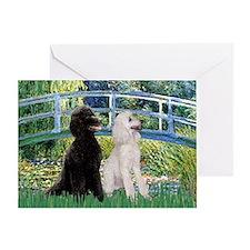 Bridge / Std Poodle (pr) Greeting Card