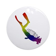 Rainbow Pride Scuba Diver Keepsake (Round)