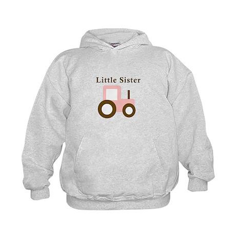 Little Sister - Pink Tractor Kids Hoodie