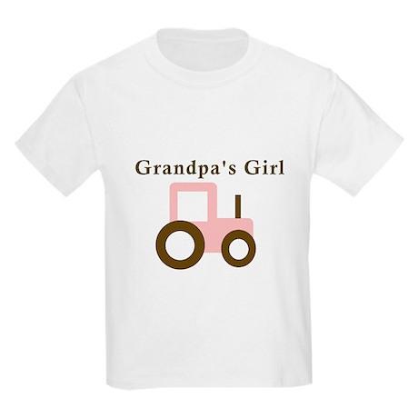 Grandpa's Girl - Pink Tractor Kids Light T-Shirt