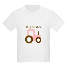 Big Sister Pink Tractor T-Shirt