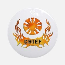 Fire Chiefs Flame Tattoo Ornament (Round)
