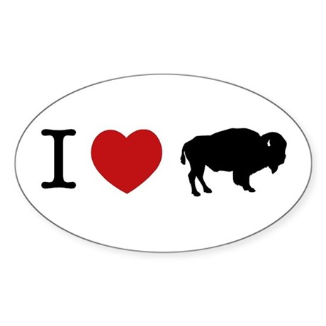 I LOVE BUFFALO Oval Sticker