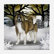 BRINDLE AKITA DOG Winter Sunset Tile Coaster