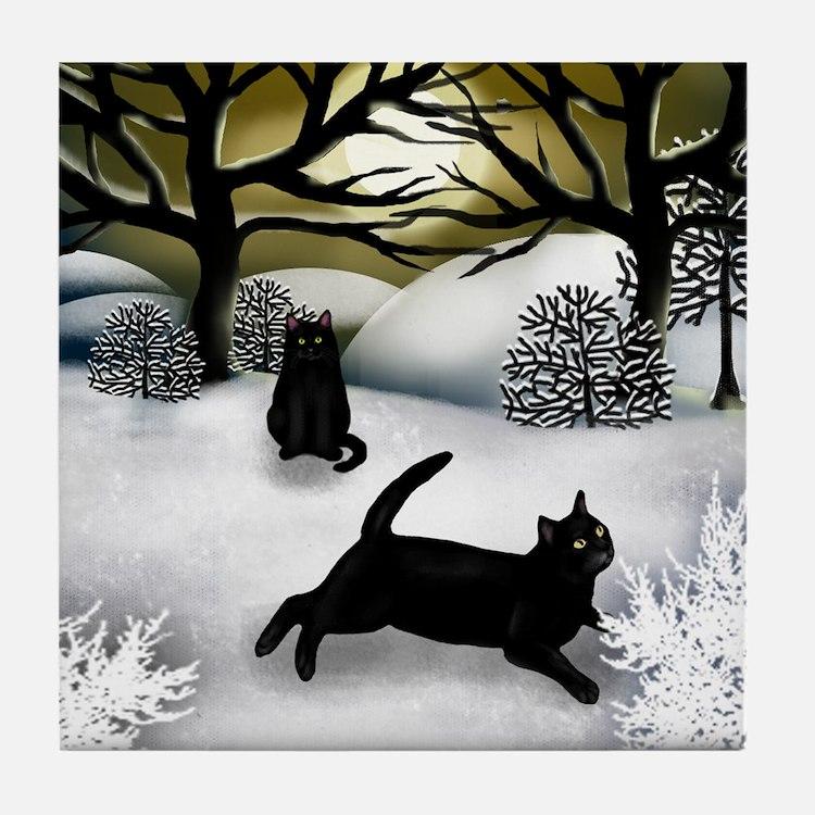 Black Cats Winter Sunset Tile Coaster