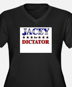 JACEY for dictator Women's Plus Size V-Neck Dark T
