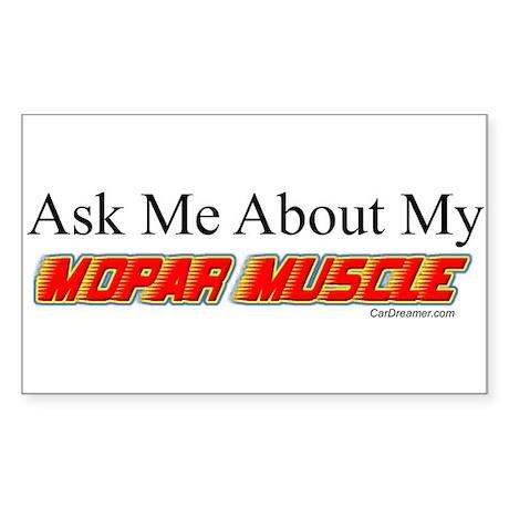 """Ask Me About My Mopar"" Rectangle Sticker"