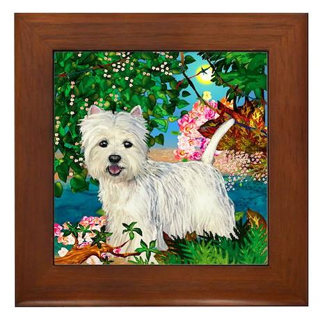 WEST HIGHLAND TERRIER DOG TROPICAL Framed Tile