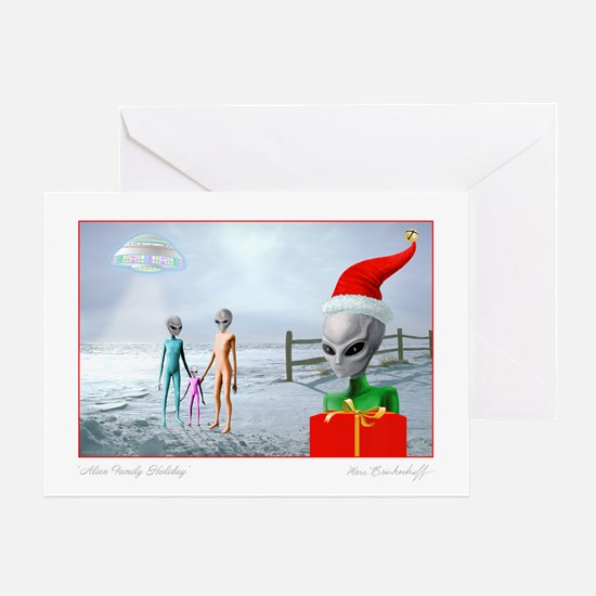 Alien Family Holiday ~ Greeting Card ~ BLANK