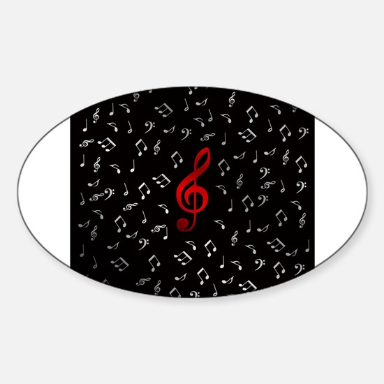 red music notes in silver Decal