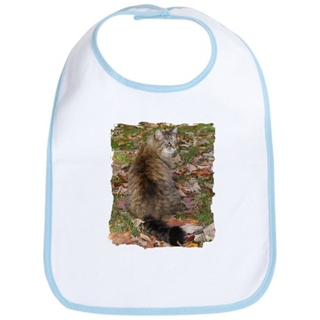 Maine Coon cat Fall leaves Bib
