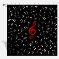red music notes in silver Shower Curtain