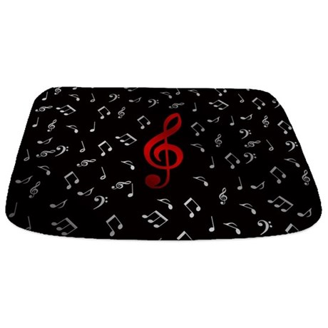 Red Music Notes In Silver Bathmat