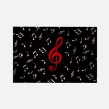 red music notes in silver Magnets