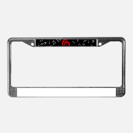 red music notes in silver License Plate Frame