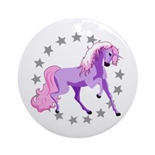 Purple Unicorn Ornament (Round)