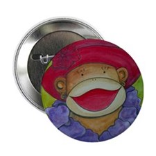 "Red Hat Sock Monkey 2.25"" Button (10 pack)"