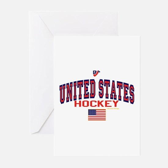 US(USA) United States Hockey Greeting Cards (Pk of