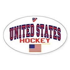 US(USA) United States Hockey Oval Decal