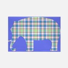 Plaid Elephant Rectangle Magnet