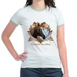 I'd Rather Be Riding Horses Jr. Ringer T-Shirt