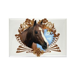 Horse Lover Crest Graphic Rectangle Magnet (100 pa