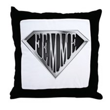 SuperFemme(metal) Throw Pillow