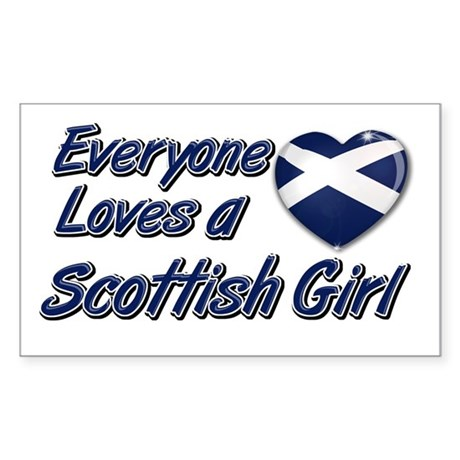 Everyone loves a Scottish girl Sticker (Rectangula