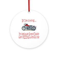 Biker Baby Cry - Grandad Ornament (Round)