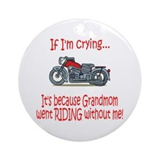 BikerBaby Cry - Grandmom Ornament (Round)
