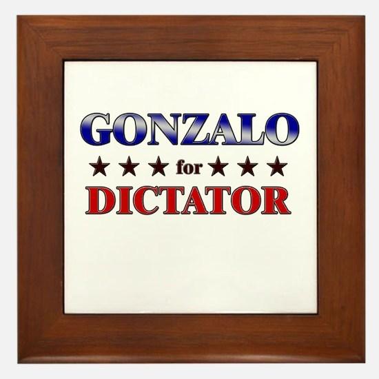 GONZALO for dictator Framed Tile