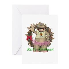 Heather Hippo Christmas Cards (Pk of 10)