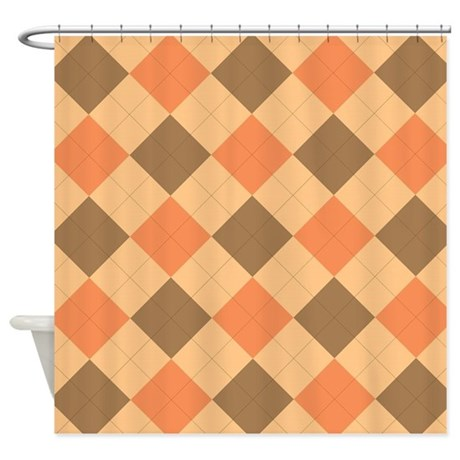Brown And Orange Argyle Pattern Shower Curtain By ADMIN CP111190267