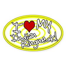 Hypno I Love My Indian Ringneck Oval Sticker Ylw