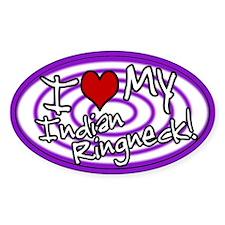 Hypno I Love My Indian Ringneck Oval Sticker Prp