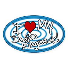 Hypno I Love My Indian Ringneck Oval Sticker Blu