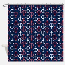 Cute Red and white anchor Shower Curtain