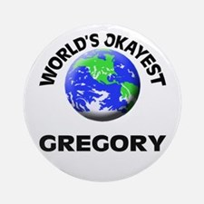 World's Okayest Gregory Round Ornament