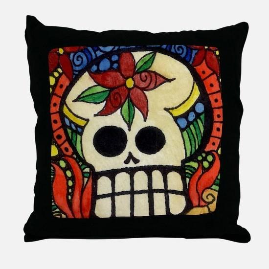 Amor Day of the Dead Skull Throw Pillow