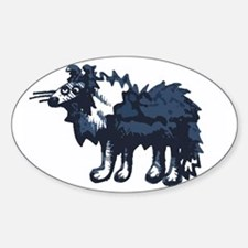 Atticus the Sheltie Oval Decal