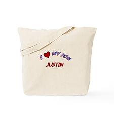I Love My Son Justin Tote Bag